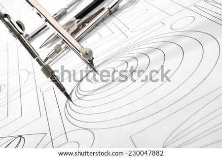 drawing tools and drawing sketch - stock photo