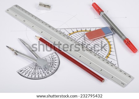 Drawing tools equipment - stock photo