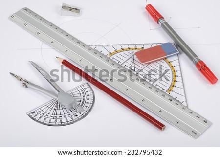 Drawing tools equipment - stock photo