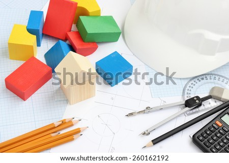 drawing tools project concept home building - stock photo