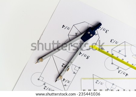 Drawing tools with compass - stock photo