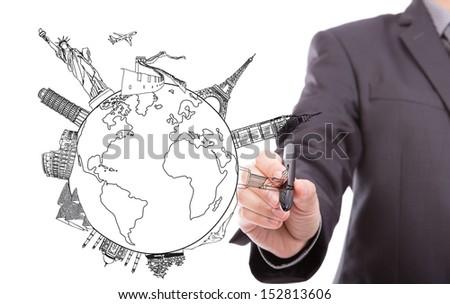 Drawing travel around the world (Japan,France,Italy ,New York,India,egypt,china,london,brazil) - stock photo