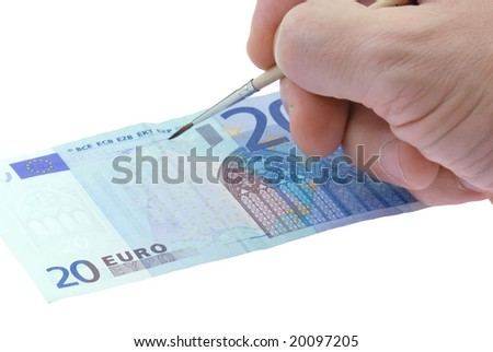 Drawing twenty euro bill. Isolated on the white background - stock photo