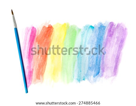 Drawing Watercolor and Paintbrush - stock photo