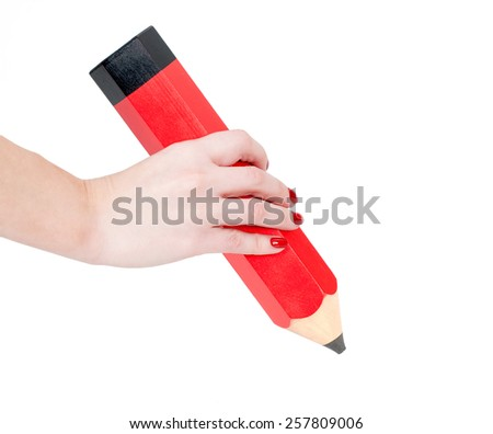 Drawing with big pencil - stock photo