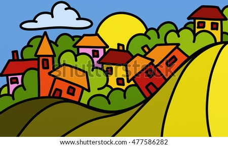 drawing with colored houses fantasy