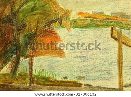 drawing with crayons - stock photo