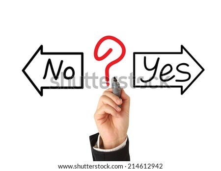 drawing with yes or no choice - stock photo