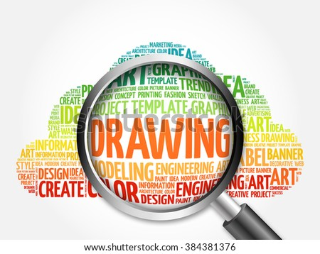 DRAWING word cloud with magnifying glass, business concept - stock photo