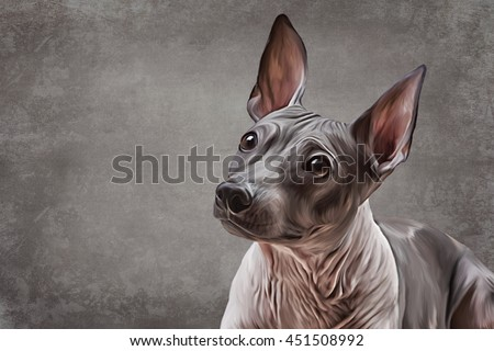 Drawing Xoloitzcuintle - hairless mexican dog breed, portrait oil painting on old vintage color grunge paper background