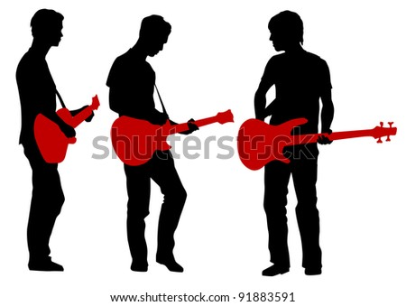 drawing young man and guitarist - stock photo