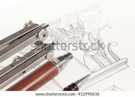 drawings of architectural details - columns element, and tools - compasses, mechanical pencils - stock photo