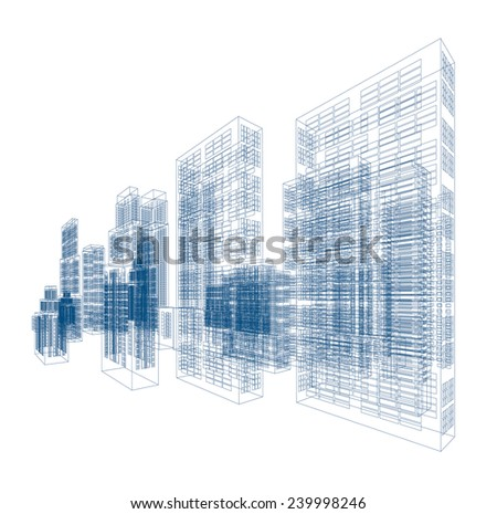 Drawings of skyscrapers and buildings - stock photo