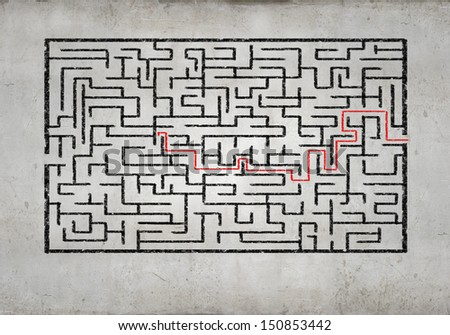 Drawn abstract maze against white background. Finding solution - stock photo
