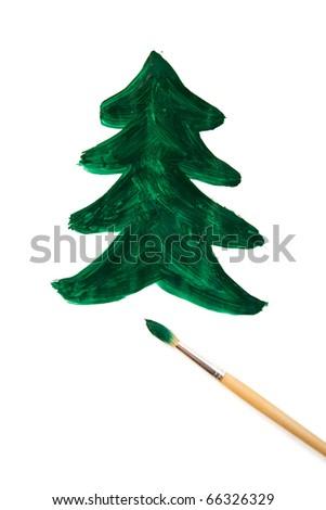 drawn Christmas tree and brush isolated on white - stock photo