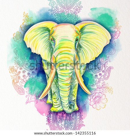 Drawn Elephant of color pencils - stock photo