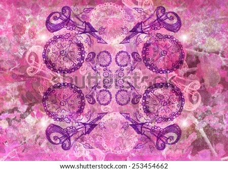 Drawn pink background with artistic edges and texture - stock photo