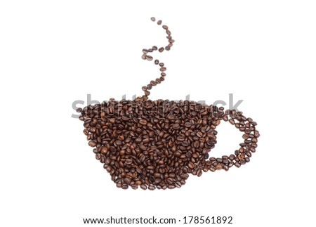 Drawn with roasted coffee cup isolated on white background - stock photo