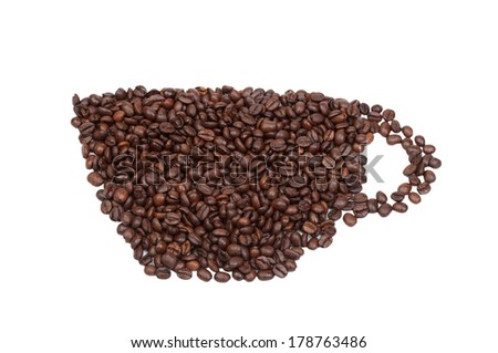 Drawn with roasted coffee cup isolated on white background