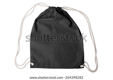 Drawstring pack template classic black isolated on white with clipping path - stock photo