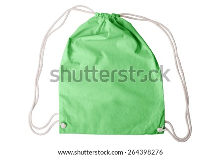 Drawstring pack template in environmentally friendly green isolated on white with clipping path - stock photo