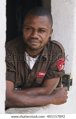 DRC, Democratic Republic of the Congo. A guard man during a service. LUKONGA, SEPTEMBER, 2008.