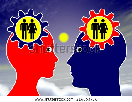 Dream about getting married. Man and woman on cloud nine thinking about getting together for ever - stock photo