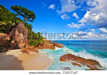 Dream beach with a big stones, Seychelles, La Digue island