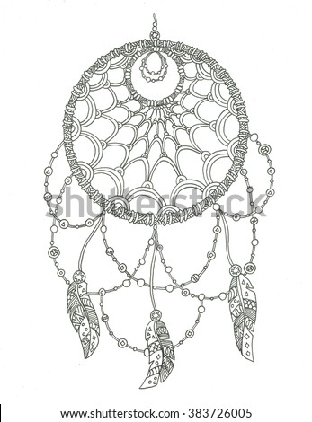 Dream Catcher Coloring Page Stock Illustration 383726005