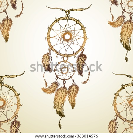 dream catcher Seamless pattern . Hand drawing.Seamless pattern can be used for wallpaper, pattern fills, web page backgrounds, surface textures. - stock photo