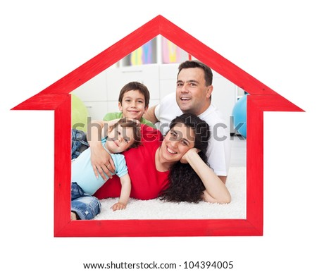 Dream home concept with family inside house contour sign - isolated