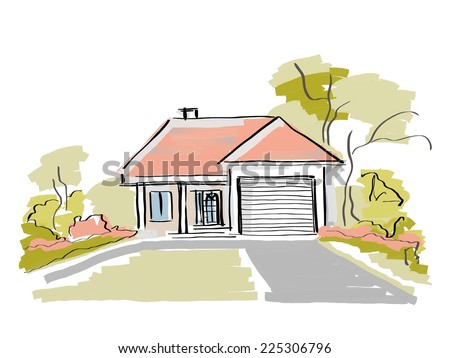 Dream house real estate painting - stock photo