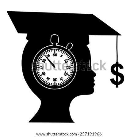 Dream of Instant Riches. Young woman is dreaming to get immediately rich after graduation  - stock photo