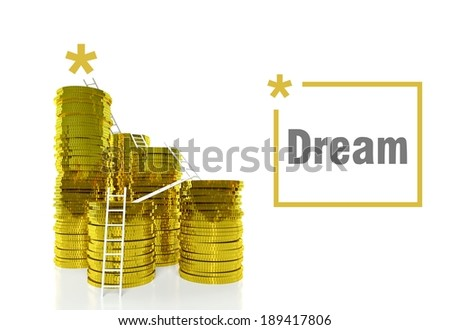 Dream of success concept, ladders on gold coins - stock photo