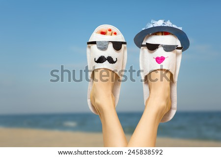 Dreaming about summer vacation on sunny beach - stock photo