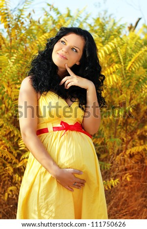 Dreaming Beautiful pregnant woman, outdoors - stock photo