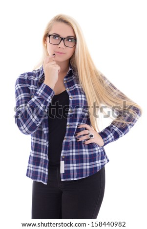 dreaming girl in eyeglasses with beautiful long hair posing isolated on white background
