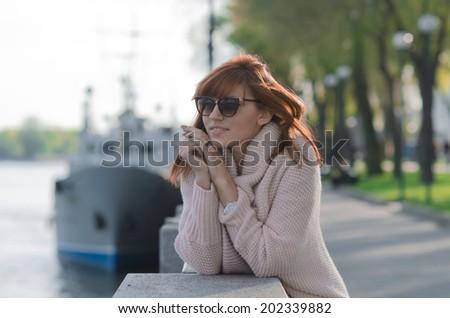 dreaming girl portrait - stock photo
