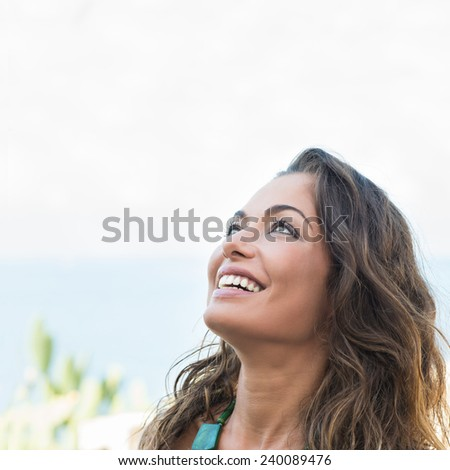 Dreaming Happy Beautiful Girl Looking Up Outdoor - stock photo