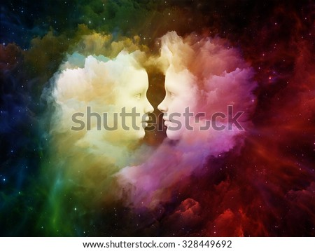 Dreaming Heart series. Composition of Human profiles connected by heart shaped nebula, fractal forms and textures on the subject of love, imagination and unity - stock photo