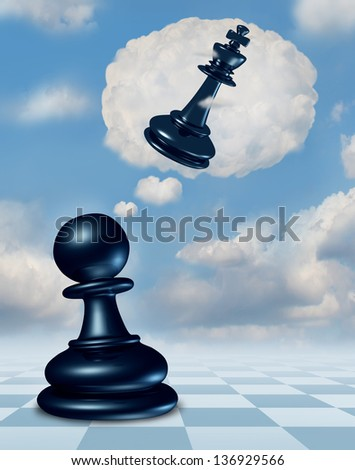 Dreaming of success as a chess game pawn piece with aspirations of becoming a king and leader in a thought bubble made of clouds thinking for the future as a business concept of strategy planning. - stock photo