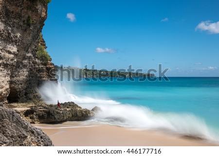Dreamland beach in Bali, Indonesia. Longexposure shot - stock photo