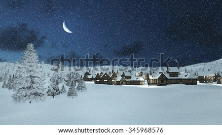 Dreamlike winter scene. Snowbound traditional european township and snowy firs at snowfall night with a half moon in the sky. Decorative 3D illustration. - stock photo