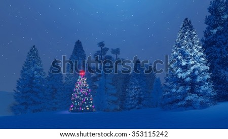 Dreamlike winter scenery. Decorated christmas tree with red star on its top among snow-covered fir trees under starry night sky. Decorative 3D illustration. - stock photo