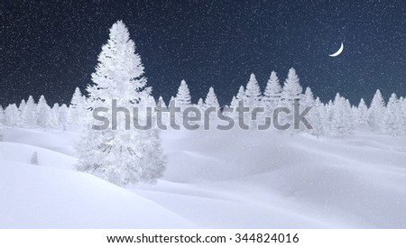 Dreamlike winter scenery with spruces completely covered with hoarfrost at snowfall night with a crescent in the sky. Decorative 3D illustration. - stock photo