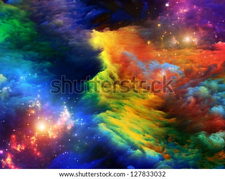 Dreamscape Series. Arrangement of colorful fractal paint and lights on the subject of art, abstraction and creativity - stock photo