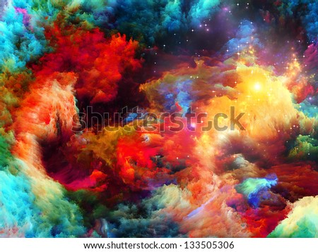 Dreamscape Series. Interplay of colorful fractal paint and lights on the subject of art, abstraction and creativity