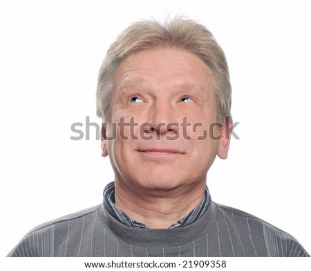 dreamy adult man on isolated background