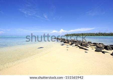 Dreamy beach at Papetoai, Moorea, French Polynesia - stock photo
