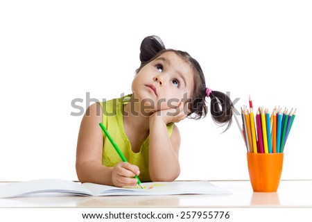dreamy child girl with pencils isolated on white - stock photo
